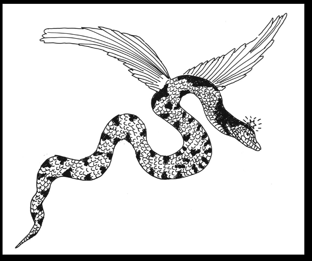 Vouivre, dessin de Daniel CANTALOUBE