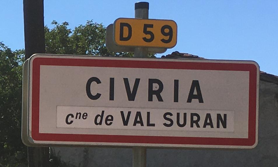 Panneau d'agglomération Civria