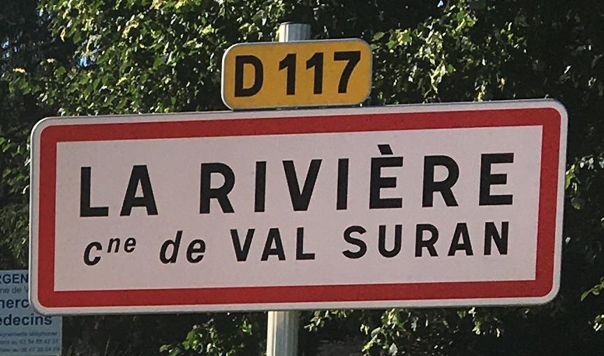 Panneau d'agglomération La Rivière