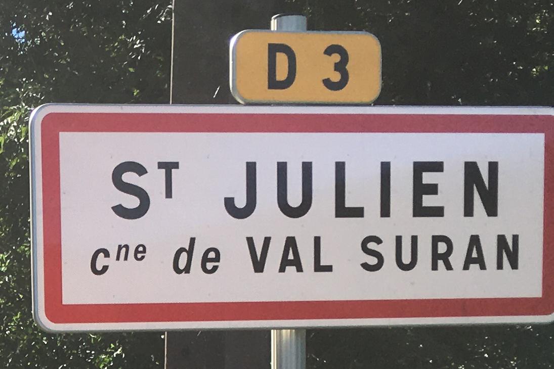 Panneau d'agglomération St Julien