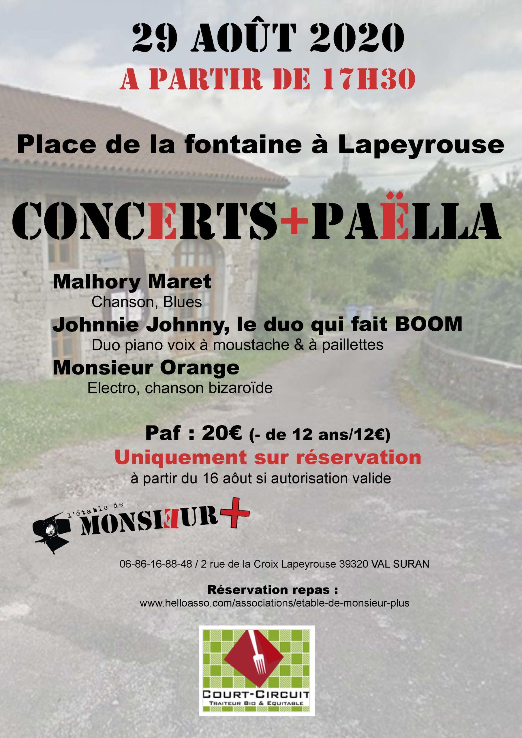 Annonce Concert+Paella 29-08-2020 Monsieur Plus