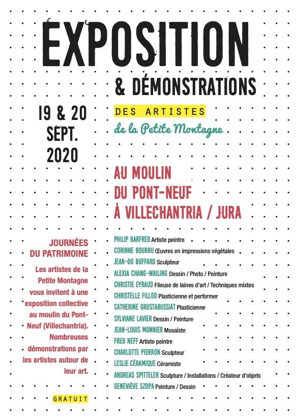 vignette jpg de l'exposition des artistes de petite montagne au moulin du pont neuf en septembre 2020